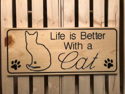 cat wood sign
