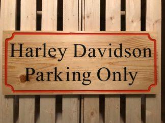 harley parking wood sign