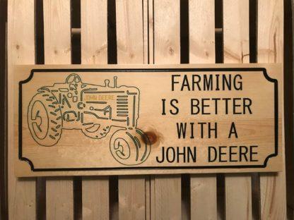 john deere farming wood sign