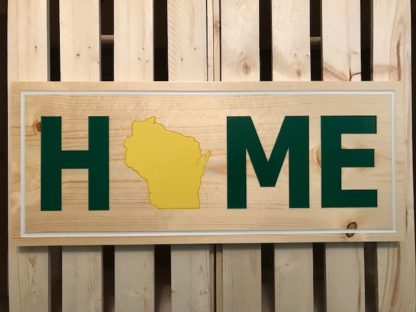 wood wisconsin sign green and yellow