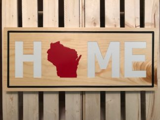 wood wisconsin sign red and whtie